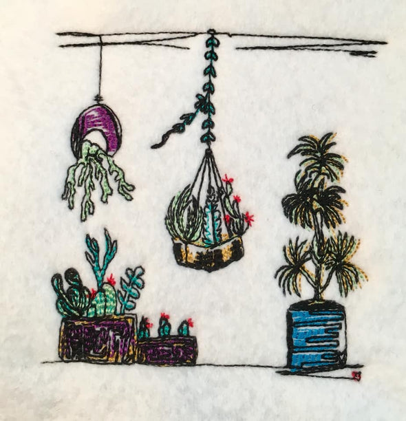 Basket Plants Succulents Embroidery Design
