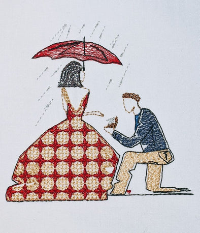 Under the umbrella Will you Marry Me - Engagement - Embroidery Design