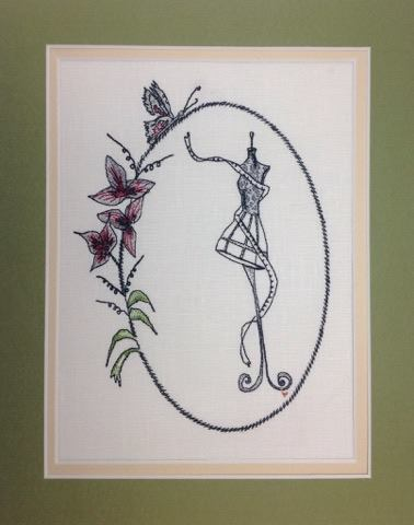 Vintage Sewing Butterfly Frame - Embroidery Design