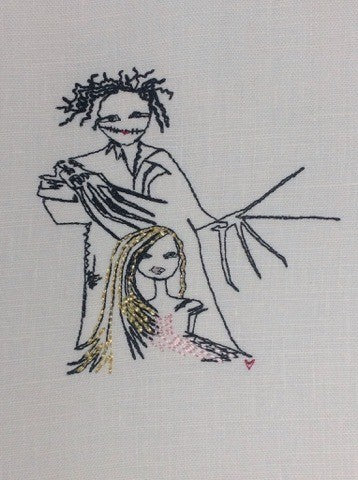 Edward Scissorhands and Rapunzel - Embroidery Design