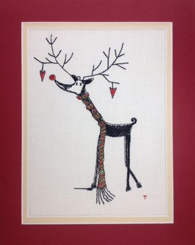 Rudolf with a Scarf - Embroidery Design
