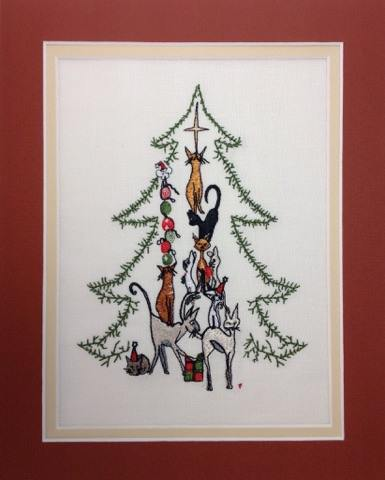 Christmas Cat Tree - Embroidery Design