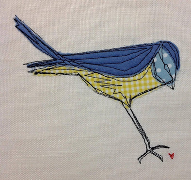 Blue Tit Bird - Raw Edge Applique - Embroidery Design