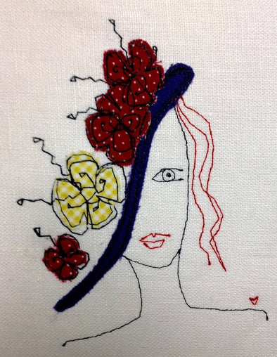 Flower Hat Girl - Raw Edge Applique Embroidery Design