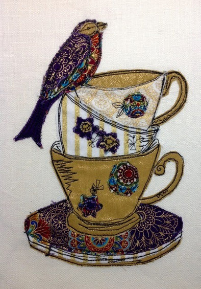 Bird and Tea Cups - Raw Edge Applique Embroidery Design
