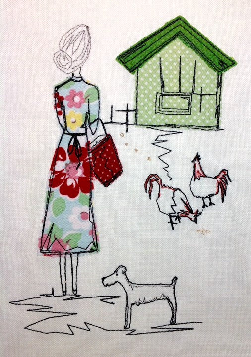 Lady Feeding Chickens - Raw Edge Applique