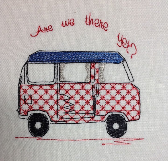 VW Bus - Are we there yet - Embroidery Design
