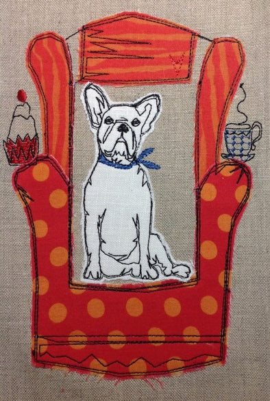 Bull Dog in Chair - Raw Edge Applique Embroidery Design