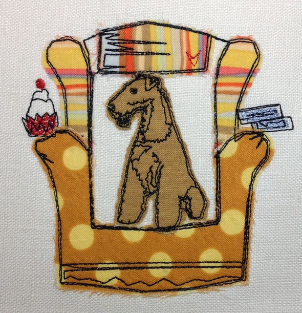 Airedale Dog in Chair - Raw Edge Applique Embroidery Design