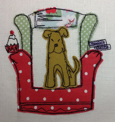 Dog in Chair - Raw Edge Applique Embroidery Design