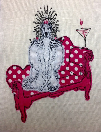Poodle in Chair - Raw Edge Applique Embroidery Design