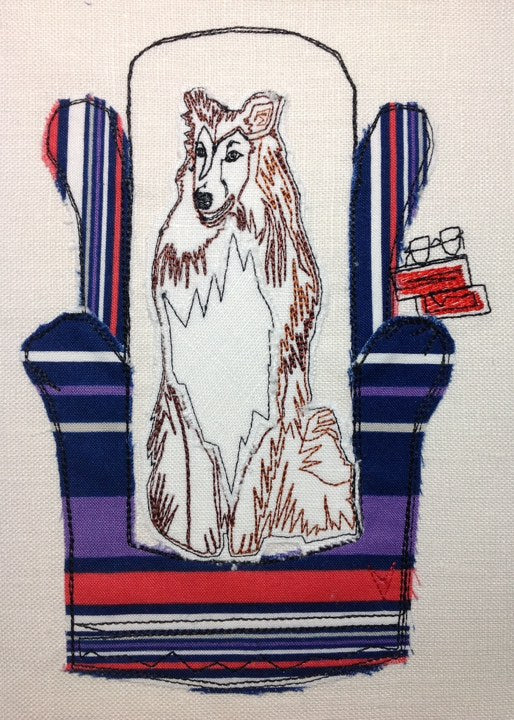 Collie in Chair - Raw Edge Applique Embroidery Design