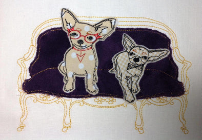 Chihuahua Dog in Chair - Raw Edge Applique Embroidery Design