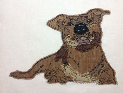 Pitbull Dog - Raw Edge Applique Embroidery Design