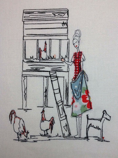 Chicken Lady and Hutch - Raw Edge Applique Embroidery Design