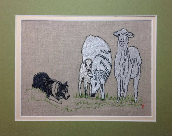Collie Dog and Sheep - Raw Edge Applique - Embroidery Design