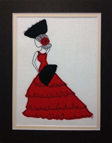 Spanish Dancer - Raw Edge Applique Embroidery Design