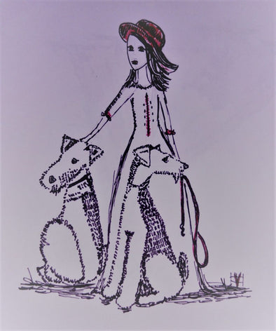 Airedale Lady with Dogs - Embroidery Design