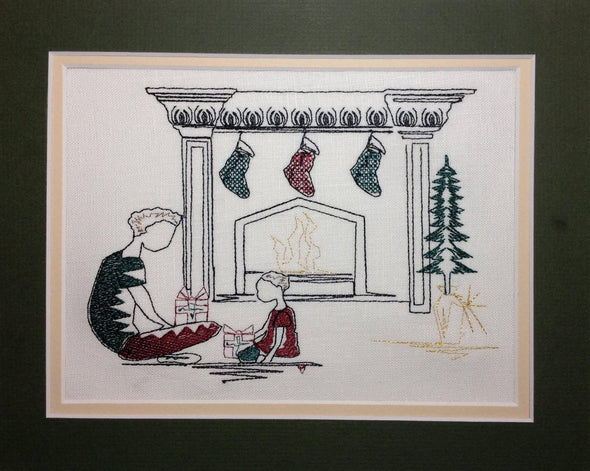 Father + Son Christmas Fireplace - Embroidery Design