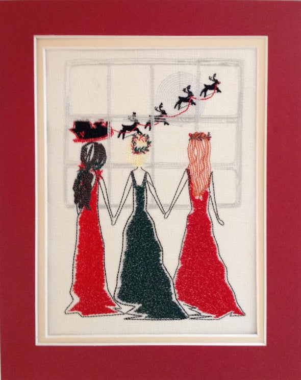 Girlfriends, Sisters Christmas Window - Embroidery Design