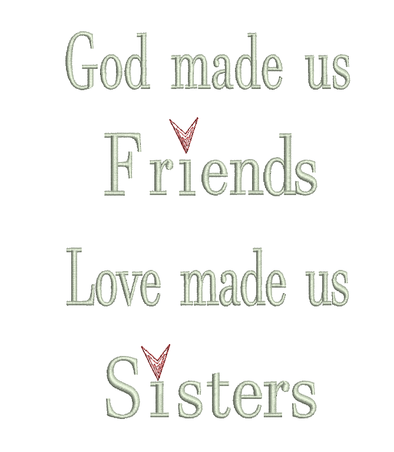 Words - God made us Friends - Embroidery Design