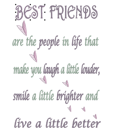 Words - Best Friends - Embroidery Design