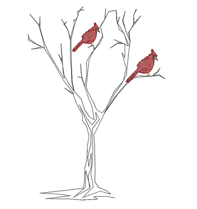 Cardinal Bird Pair - Embroidery Design