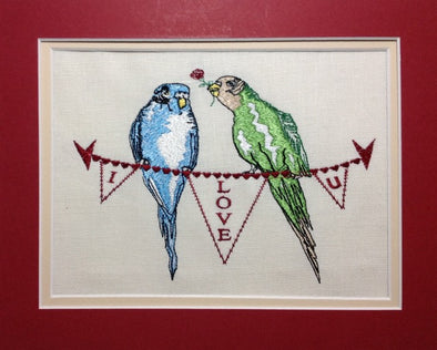 Budgie Love - Valentine Embroidery Design