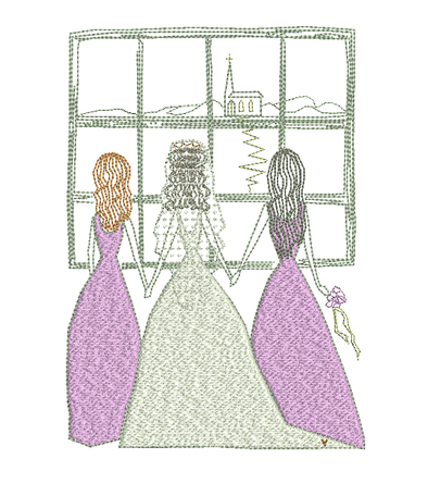 Bride and Bridesmaids - Embroidery Design