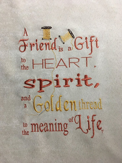 Girl Reading a Book - Golden Friend Words - Reading Pillow Embroidery Design