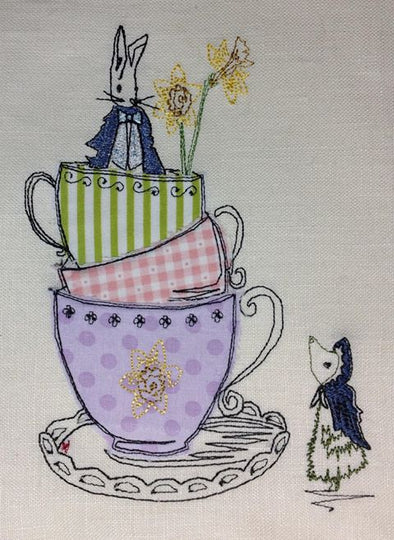 Teacup Bunny - Raw Edge Applique - Reading Book Pillow Design
