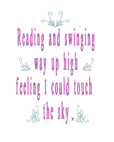 Reading and Swinging - WORDS ONLY - Reading Book Pillow Embroidery Design