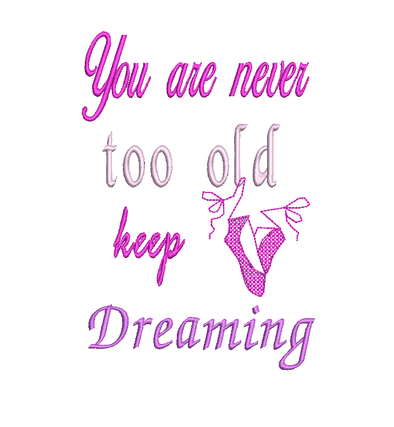 Never Too Old - WORDS ONLY - Reading Book Pillow Embroidery Design