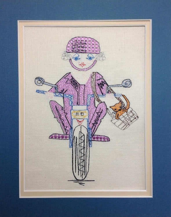 Motorbike Granny - Reading Book Pillow Embroidery Design