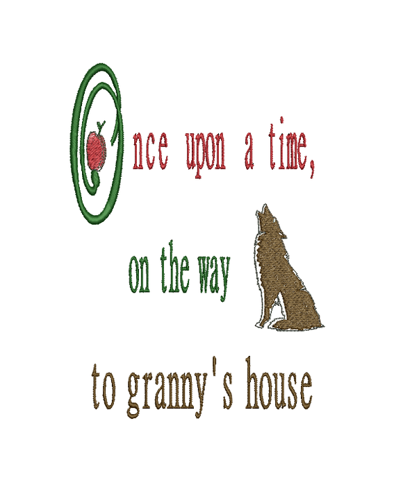 Red Riding Hood - Granny's House - WORDS ONLY - Reading Book Pillow Embroidery Design