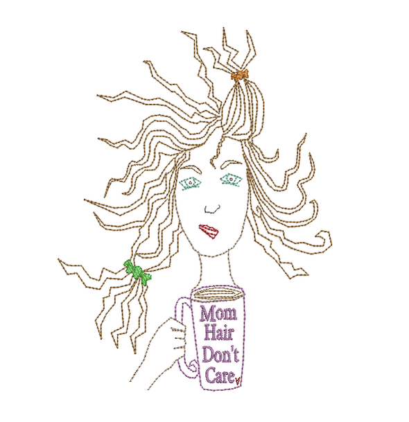 Mom Hair, Don't Care - Embroidery Design