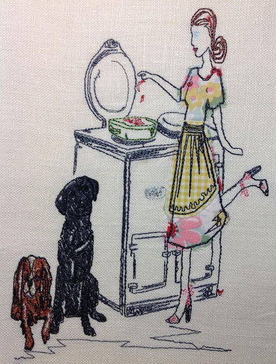 AGA Cooker Lady Cooking with Dogs - Raw Edge Applique Embroidery