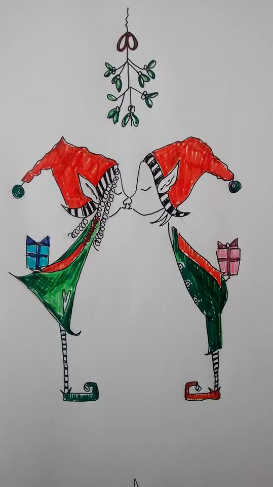 Christmas Kissing Elves - Embroidery Design