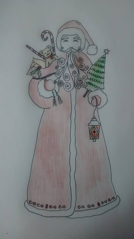 Christmas Santa with Candy Cane - Embroidery Design