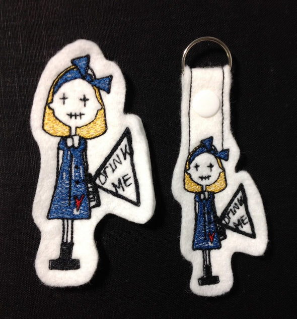 Alice in Wonderland Key Fob, Feltie and Large Size