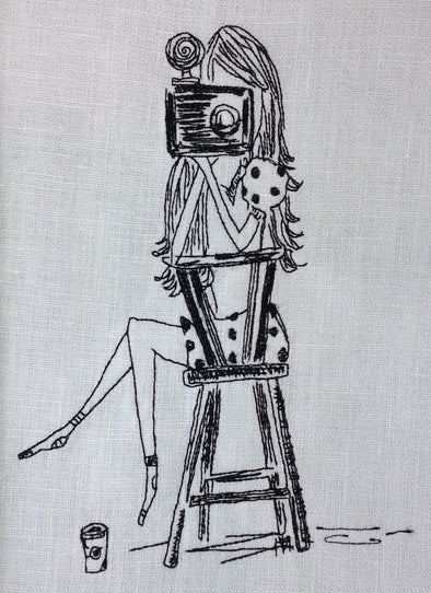 Girl Sat With Camera - Embroidery Design