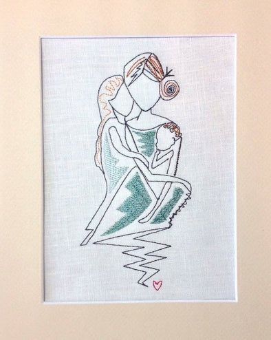 Forever Mine Collection - Mother Sitting and Two Daughters Sister, Grandma - Embroidery Design