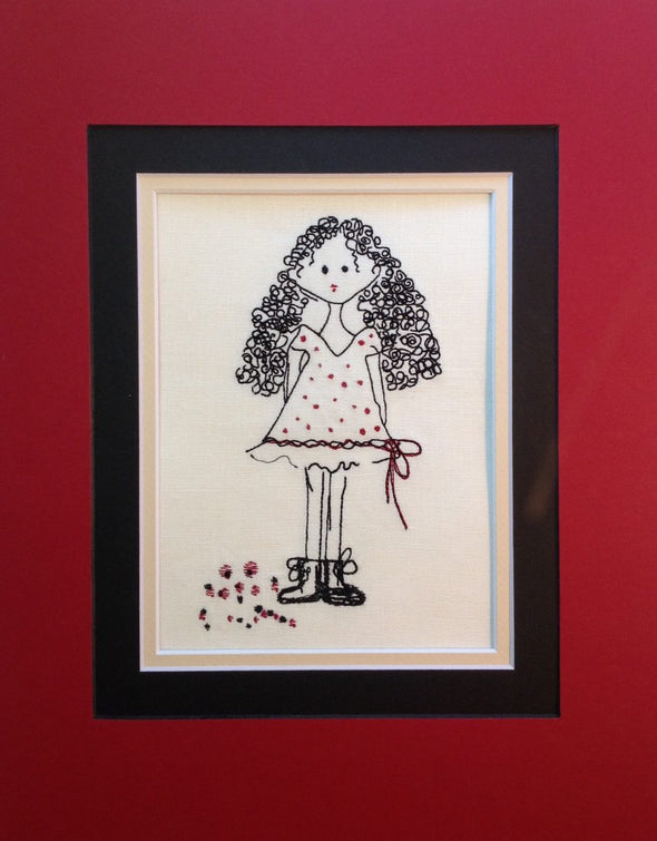Curly Long Hair Girl - Embroidery Design