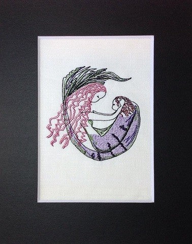 Sleeping Mermaid with Baby - Embroidery Design