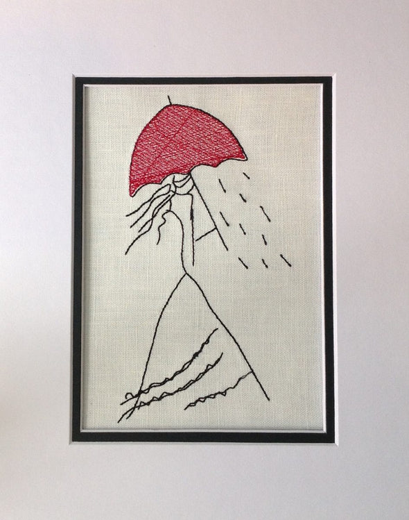 Girl With Bright Red Umbrella - Embroidery Design