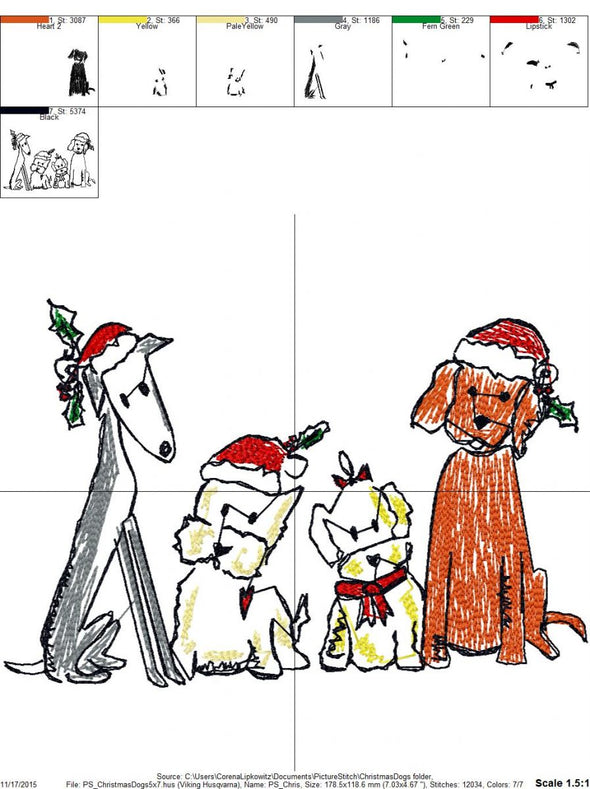 Christmas Dogs - Embroidery Design