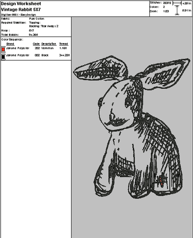 Vintage Rabbit - Embroidery Design