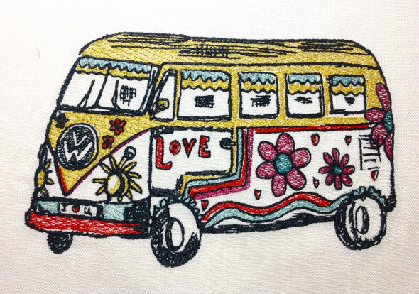 VW Flower Bus - Embroidery Design