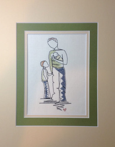 Forever Mine Collection - Father with Baby and Son - Embroidery Design