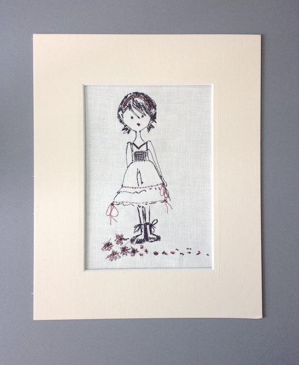 Girl With Short Hair - Embroidery Design